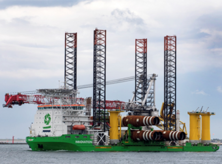 The first wind turbine foundations of the Rentel offshore wind farm have been installed